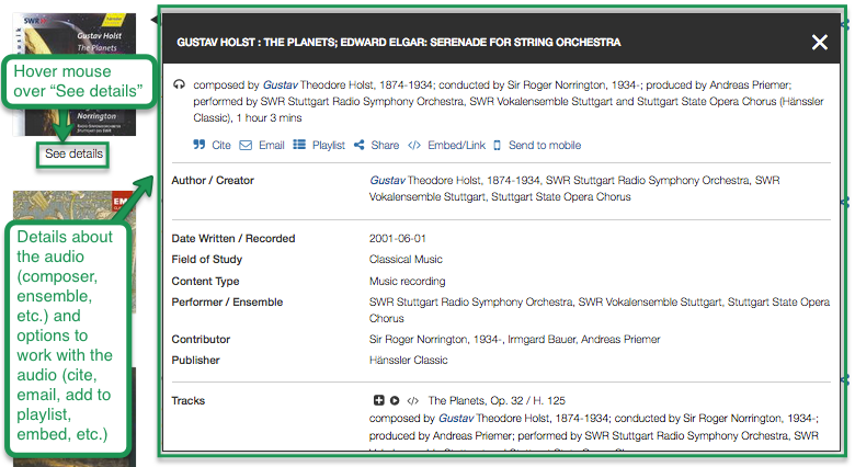 Classical Music Library preview pop-up window