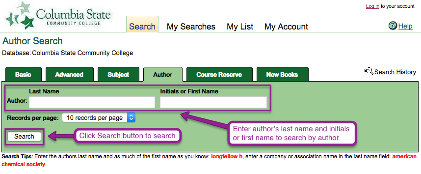 Library Catalog author search page