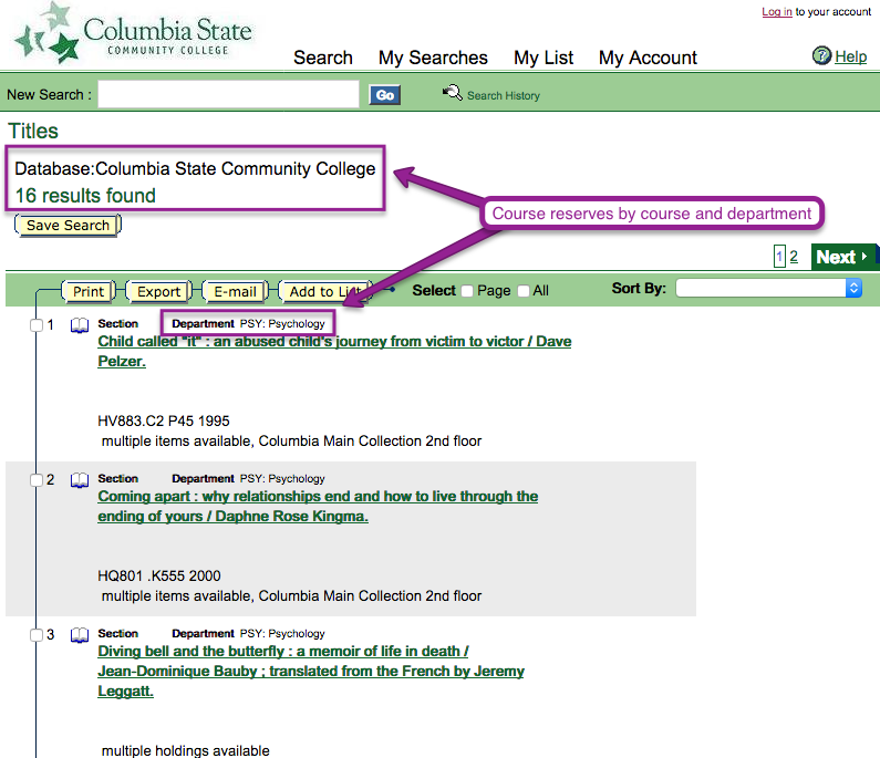 Library Catalog course reserves page 4