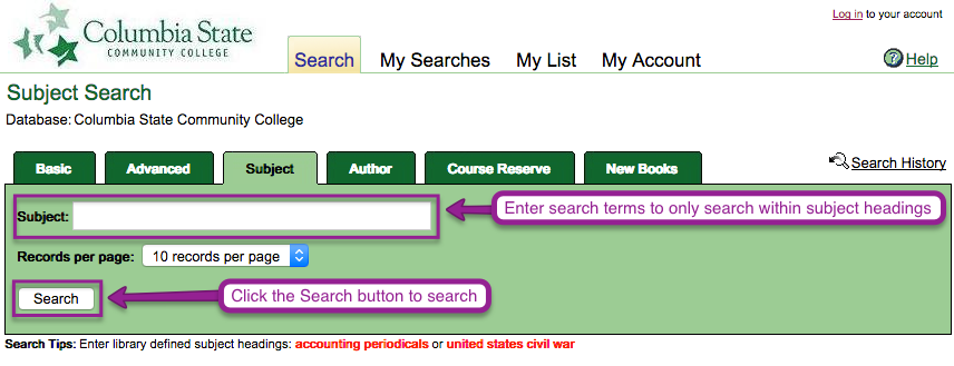Library Catalog subject search page