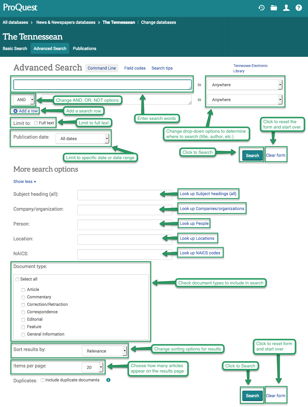 ProQuest newspaper databases advanced search page