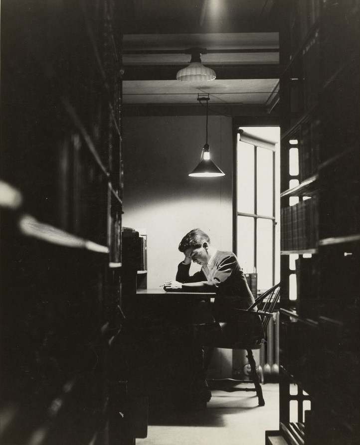 [Student at desk]. Photographic views of Widener Library, 1913-1988. HUV 49 Box 1, Folder 10