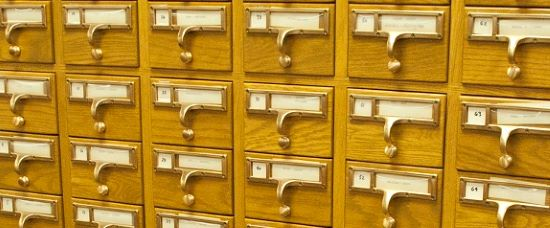 Photo of Tolman index card catalog in Harvard University Archives reading room