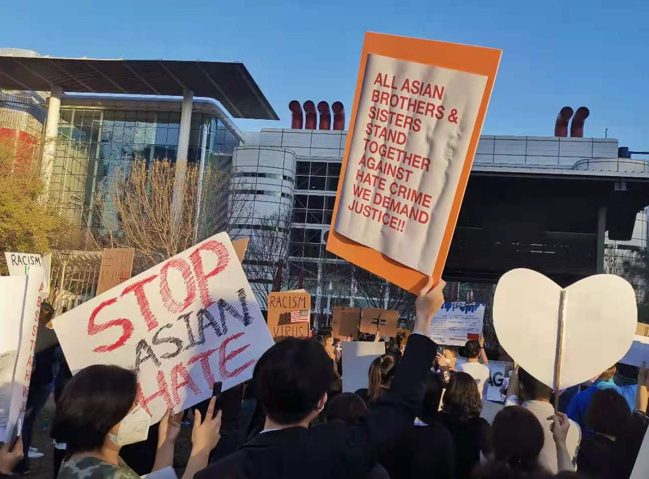 Protest in downtown Houston after Georgia shooting in March 2021