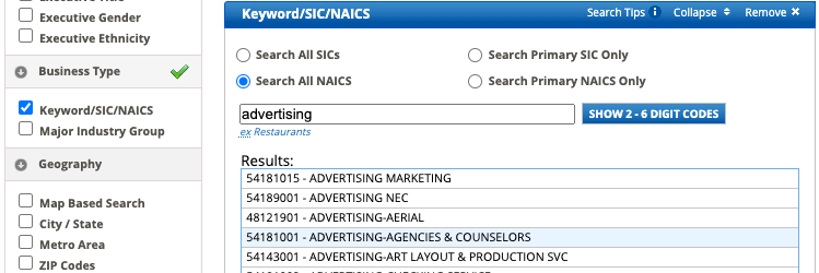 """Selected """"Search All NAICS"""" with """"Advertising"""" in the search box, and selected """"Advertising-Agencies & Counselors"""" in Results"""