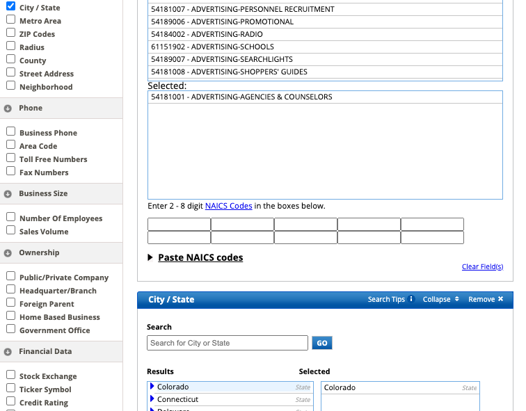 Screen Shot of ReferenceUSA's with City/State selected, and the state of Colorado selected towards the bottom