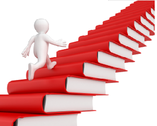 Man walking up books stacked as steps
