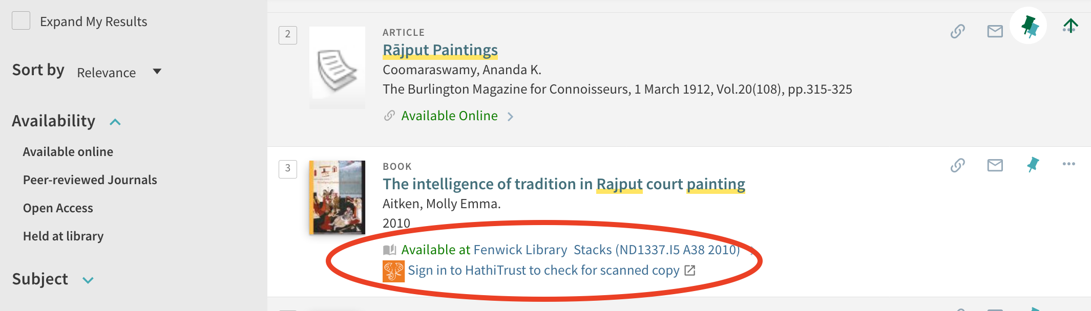 """Screenshot of Mason Libraries catalog search for the book """"Intelligence of Rajput Paintings,"""" showing the location of the """"hathiTrust Emergency Access"""" link."""