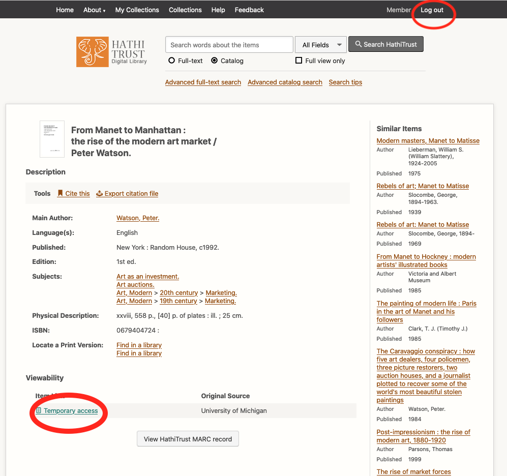 """Screenshot of the HathiTrust Emergency Access page, showing the """"login"""" and """"Temporary Access"""" link locations for scanned books."""