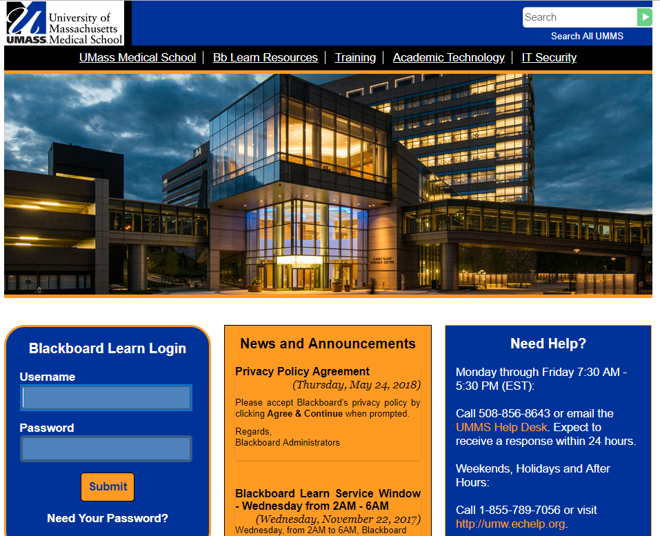 University of Massachusetts Medical School Blackboard Learn Login