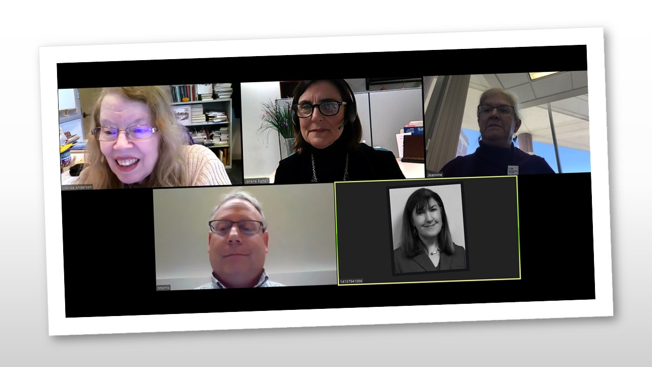 Skype call with nomination committee where Wanda Anderson finds out that she is receiving the 2019 NAHSL Appreciation Award