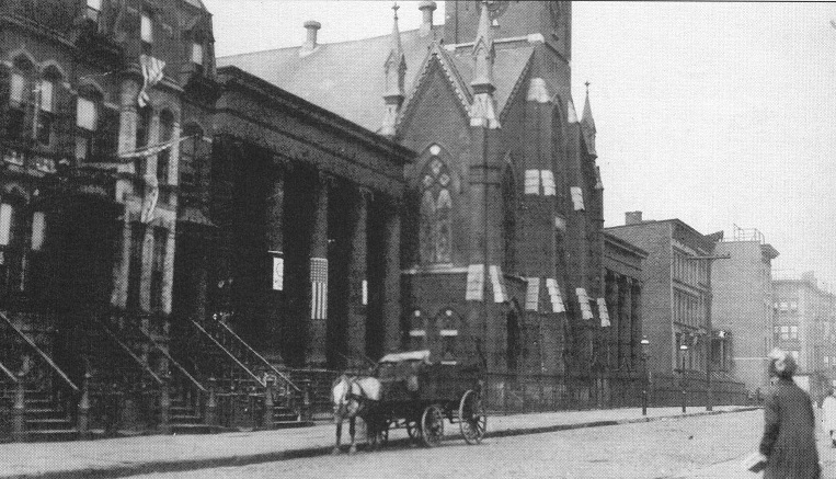 Early 20th century photograph of Wayne Street showing (left to right) the Barrow Mansion, St. Matthew's Lutheran Church, and the Van Vorst (Benjamin Edge) Mansion Courtesy: Jersey City Free Public Library