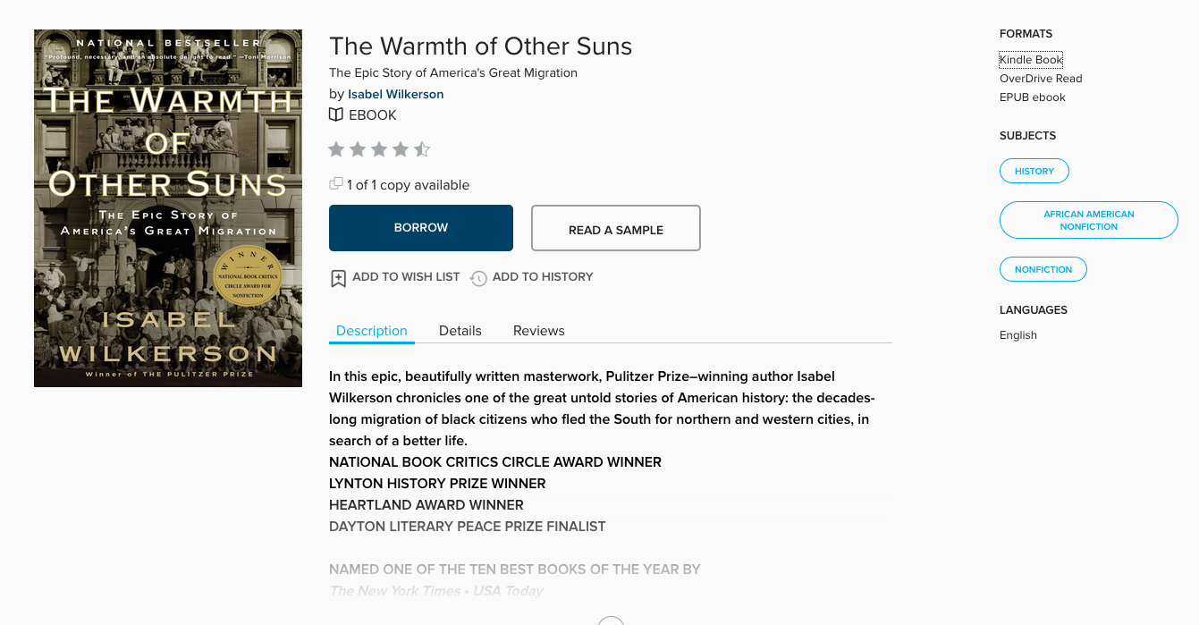 "Shows the landing page of ""Warmth of Other Suns"" in OverDrive, when folks click ""borrow."""