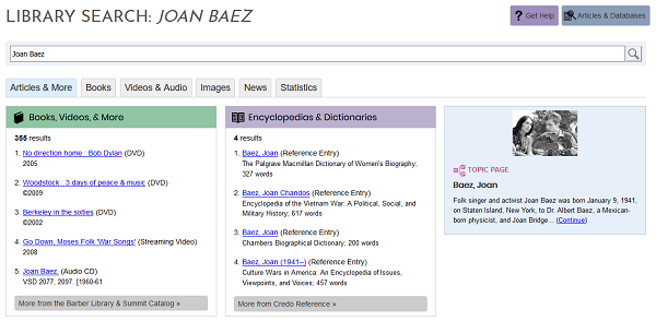Screenshot of library search results for Joan Baez