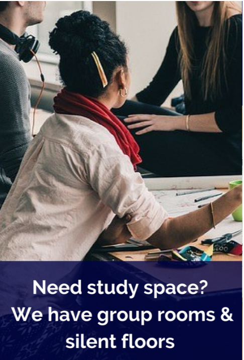Need a study space?  We have group study rooms & silent floors