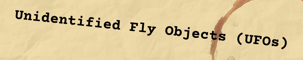 """partial image of a folder with a coffee stain and the words """"unidentified flying objects"""" written on it."""