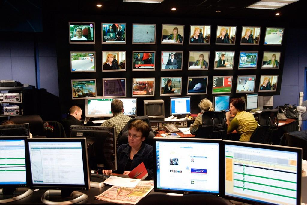 The television studio of the Polish news network TVN24 in Warsaw