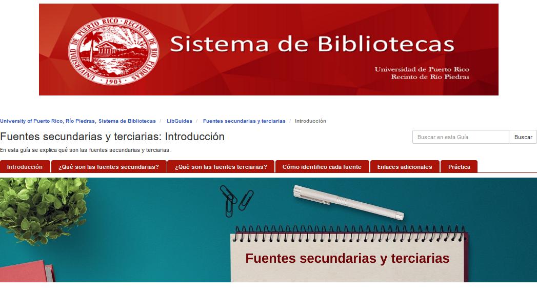 captura de pantalla guía temática fuentes secundarias y terciarias