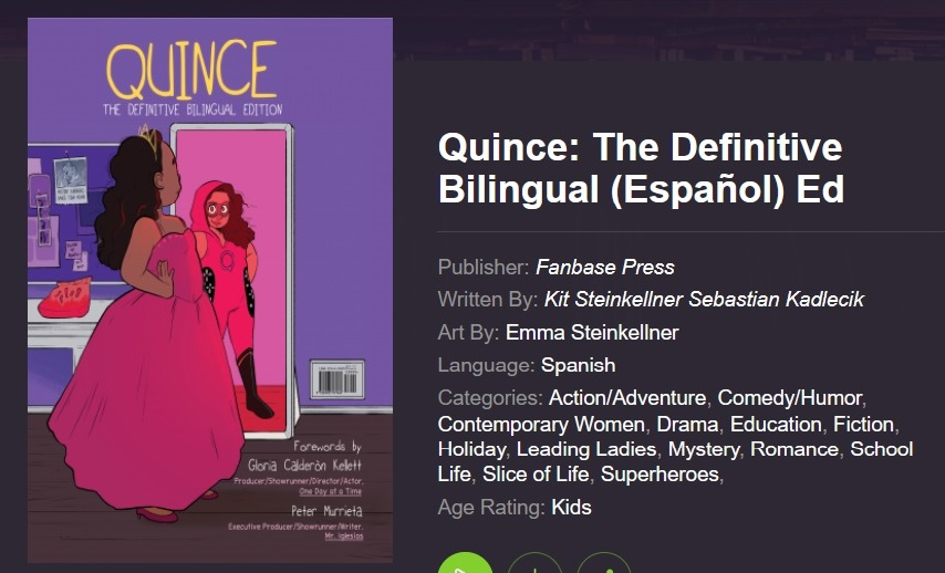 """Graphic novel cover image for the title: """"Quince: The Definitive Bilingual Ed."""""""
