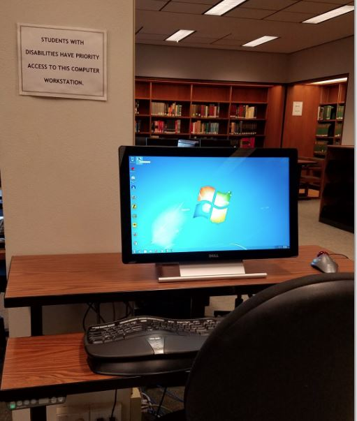ADA workstation on adjustable table near the Reference Desk, 2nd floor