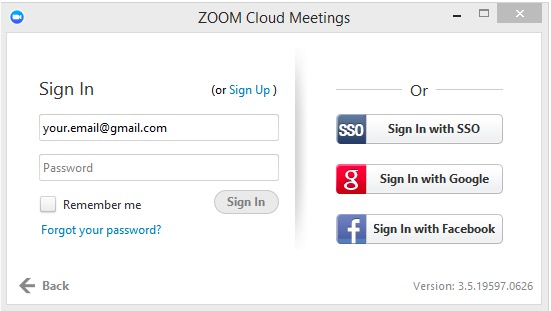 Zoom sign in box