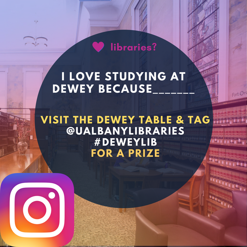 Promotional image made with Canva for a library Instagram contest