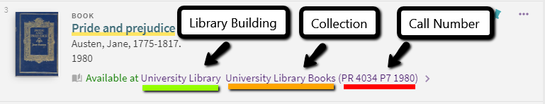 library call number location information on a Search record