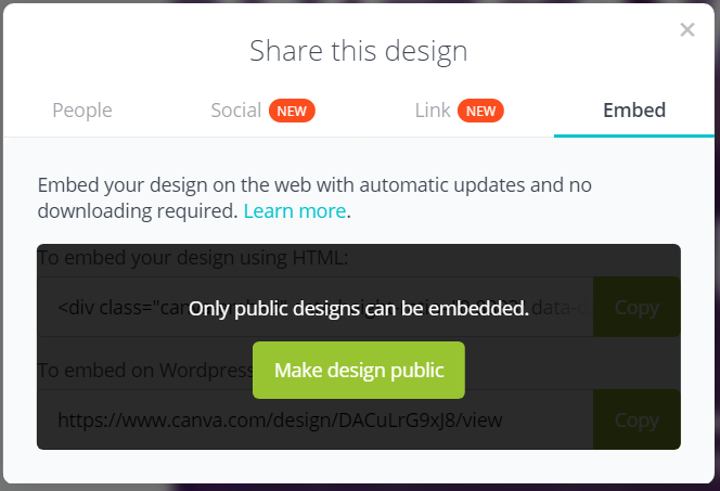 embed a canva design to your website