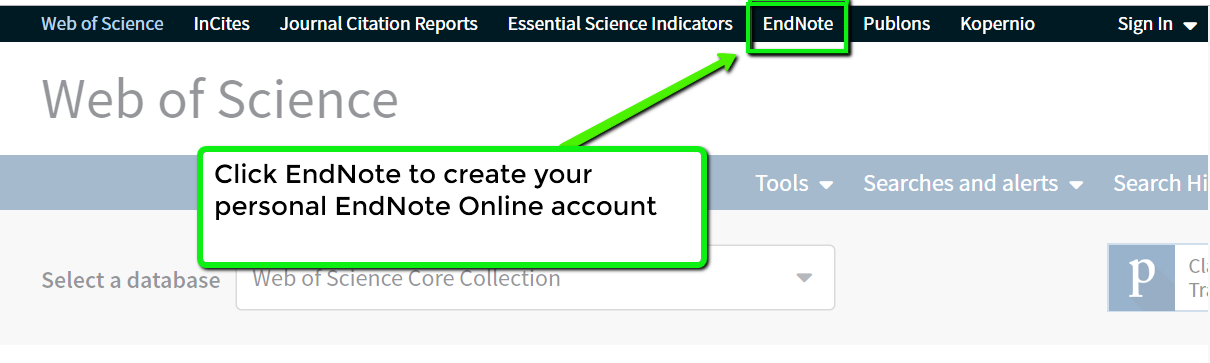 Link to Endnote in the top navigation bar of Web OF Science Database
