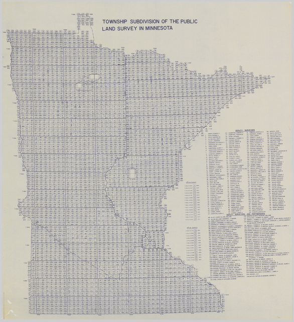 Township boundaries of the public land survey in Minnesota, 1974