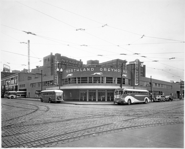 Greyhound Bus Depot, located at First Avenue North and Seventh Street, Minneapolis.
