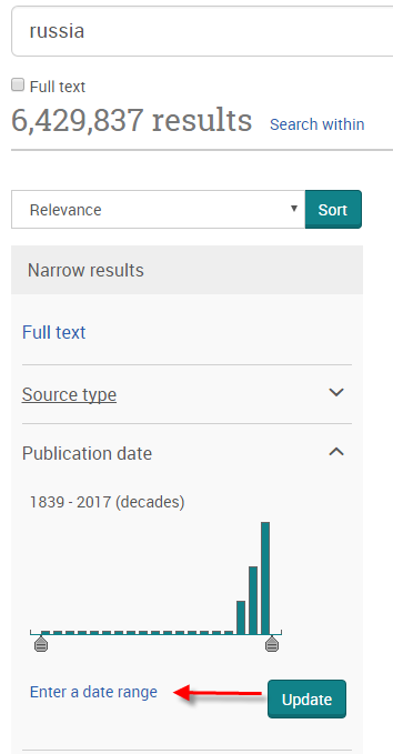 "Screenshot of ""Enter a date range"" link in the ""Publication Date"" section of the ""Narrow results"" column"