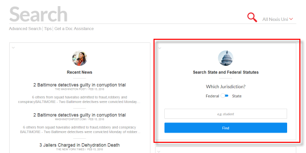 The Statute search box is under the main search box, on the right side of the page