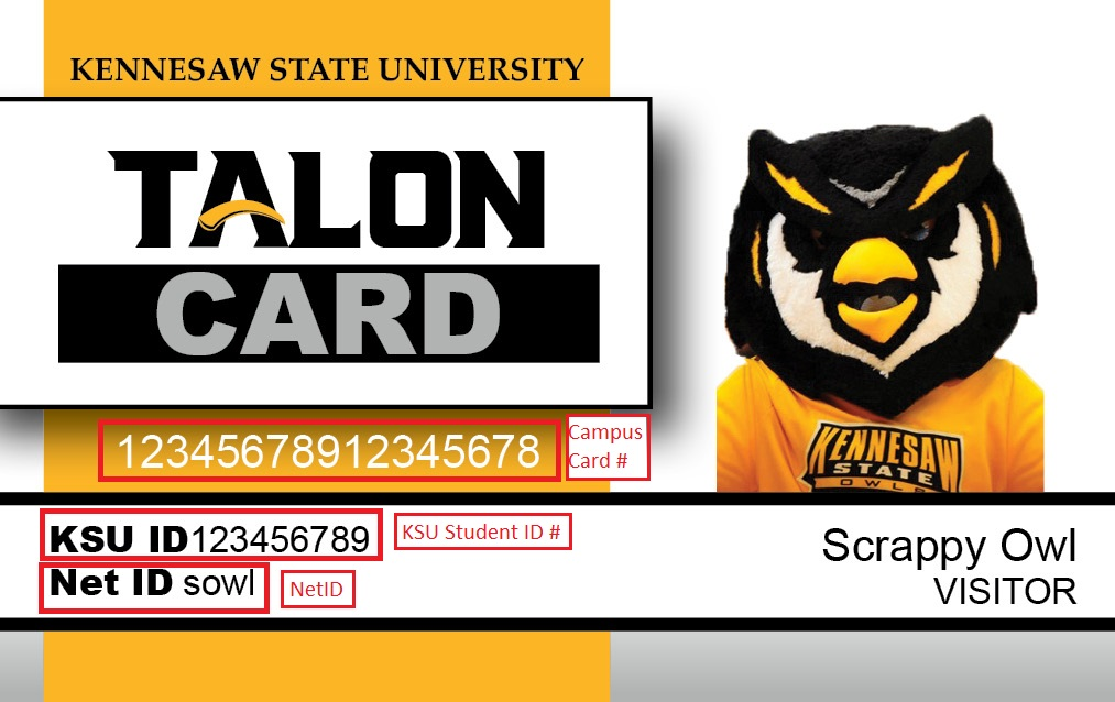 Your student ID number and campus card number are on the front of your Talon Card.