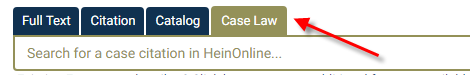 """The """"Case Law"""" tab is above the search box"""