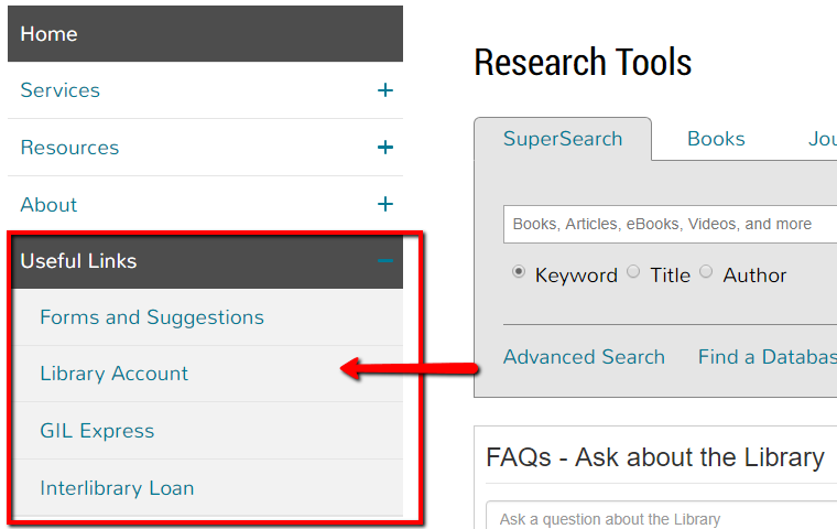 """Library Account"" is nested under the heading ""Useful Links""."