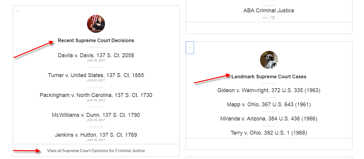 Scroll down to find the Recent Supreme Court Decisions and Landmark Supreme Court Cases boxes