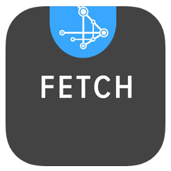 Black logo with the word Fetch