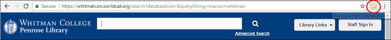Image of WorldCat URL and Zotero icon