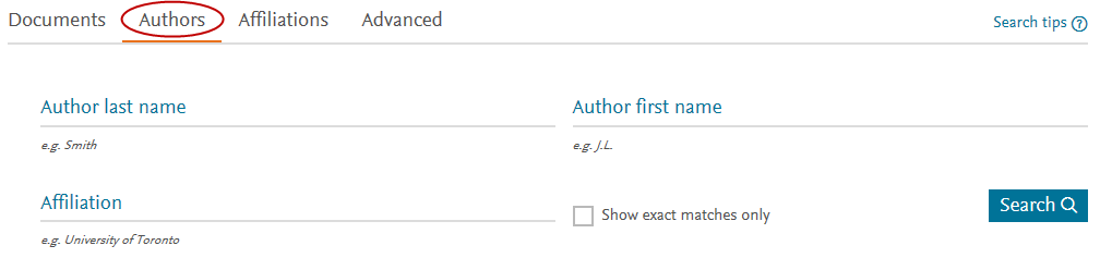 Scopus search page with Author circled