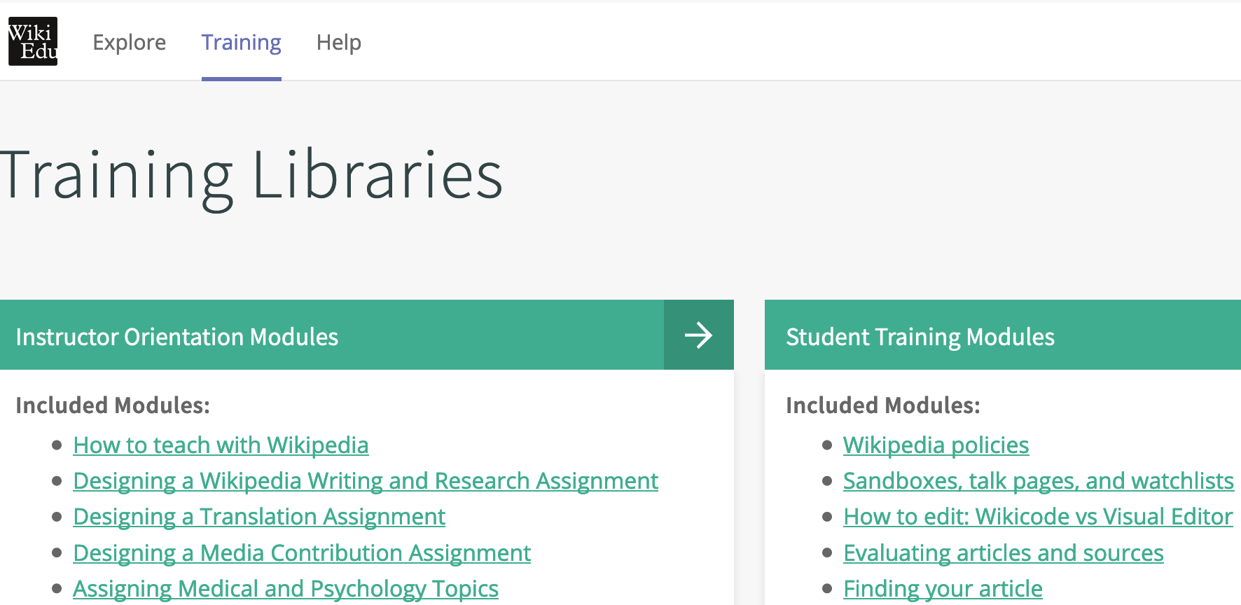 Wiki Edu Training Libraries