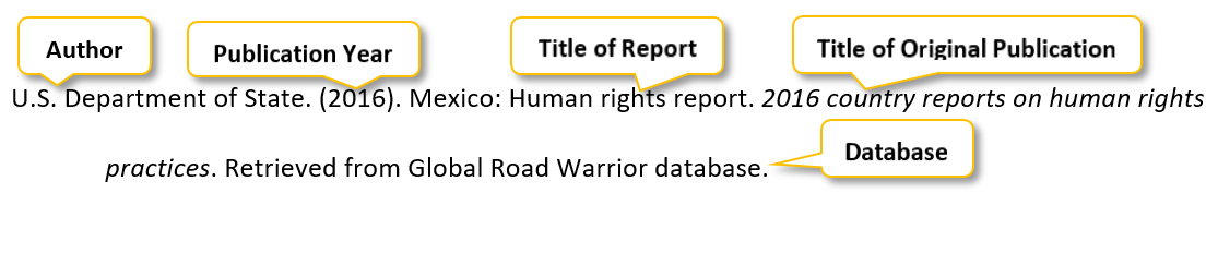 U period S period Department of State period (2016) period Mexico colon Human rights report period 2016 country reports on human rights practices period Retrieved from Global Road Warrior database period