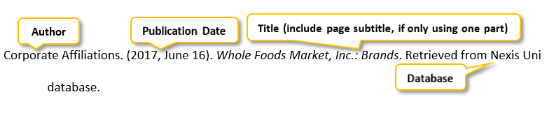 Corporate Affiliations period (2017 comma June 16) period Whole Foods Market comma Inc period colon Brands period Retrieved from Nexis Uni database period