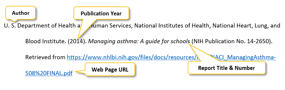 U period S period Department of Health and Human Services comma National Institutes of Health comma National Heart comma Lung comma and Blood Institute period (2014) period Managing asthma colon A guide for schools (NIH Publication No period 14-2650) period Retrieved from https colon //www dot nhlbi dot nih dot gov/files/docs/resources/lung/NACI_ManagingAsthma-508%20FINAL dot pdf