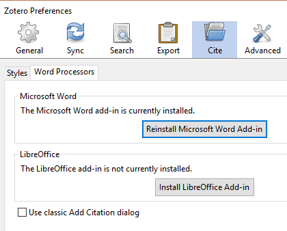 screenshot of Zotero window, showing the Preferences > Cite > Word processors menu and a button to Reinstall Word Add-In