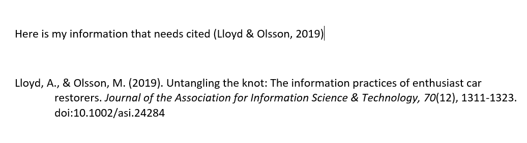 example of citation inserted in Microsoft Word from Endnote