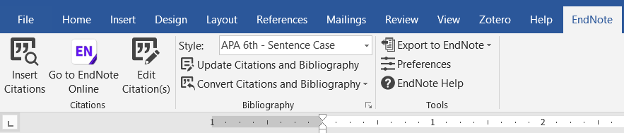 Microsoft word tab for Endnote, showing the Insert Citation button