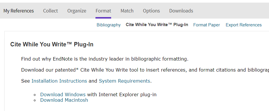 screenshot of Endnote's Format menu -- Cite While You Write Plug-in