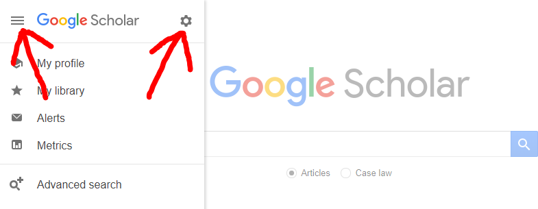 Selecting Settings from the More menu on Google Scholar homepage