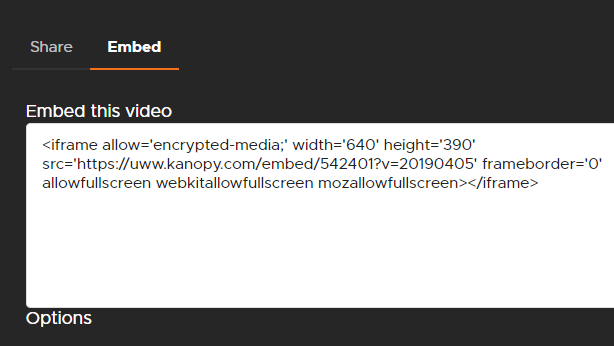 Embed box from Kanopy, with a long embed code